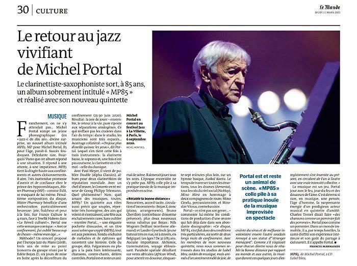 Le Monde Publication presse Michel Portal